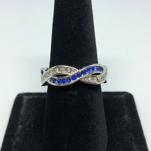 Jewelry - Blue & White Sapphire Silver Infinity Ring Size 8